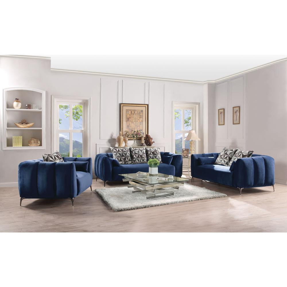 Hellebore Sofa w/5 Pillows, Blue Velvet. The main picture.
