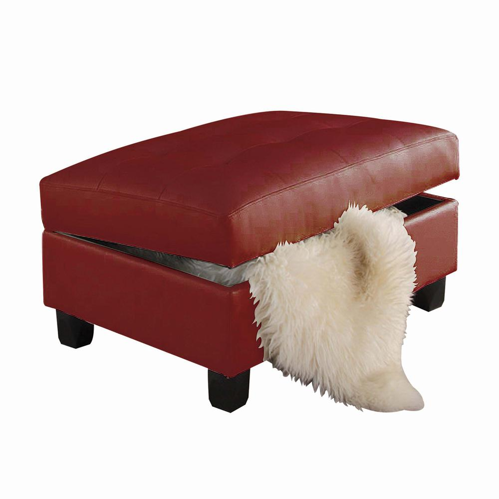 Kiva Ottoman w/Storage, Red Bonded Leather Match. Picture 1