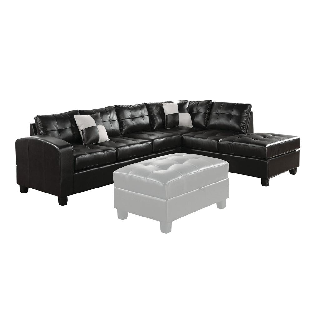 Kiva Sectional Sofa w/2 Pillows (Reversible), Black Bonded Leather Match (1Set/2Ctn). Picture 5
