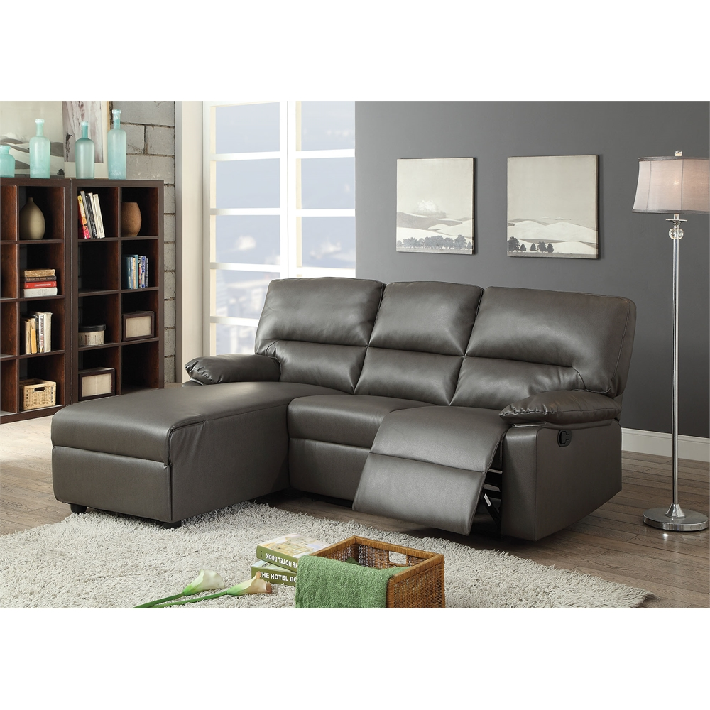 Reversible Sectional Sofa White Bonded Leather Match Sofas: Artha Sectional Sofa (Motion), Gray Bonded Leather Match