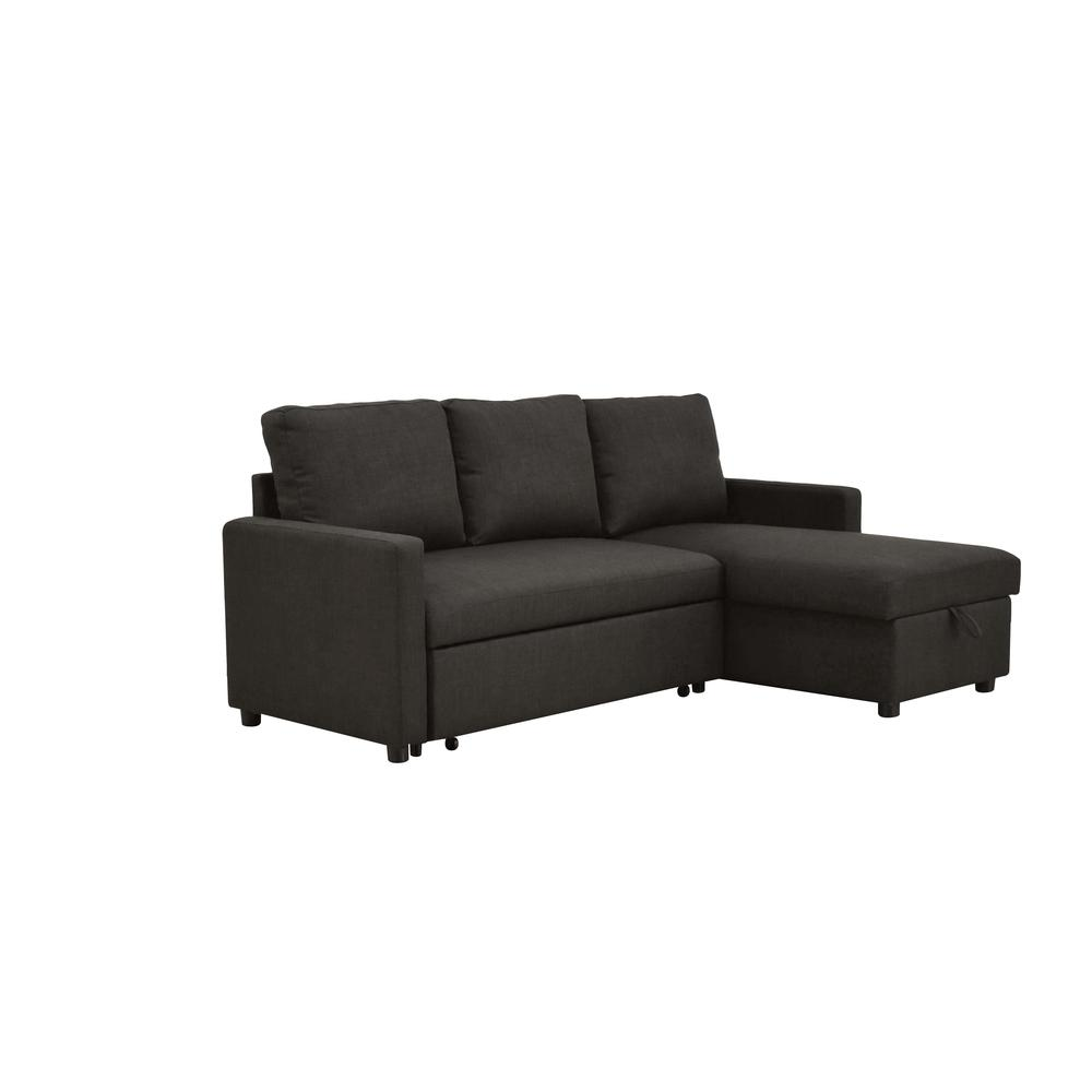 Hiltons Sectional Sofa w/Sleeper & Storage, Charcoal Linen (1Set/2Ctn). Picture 1
