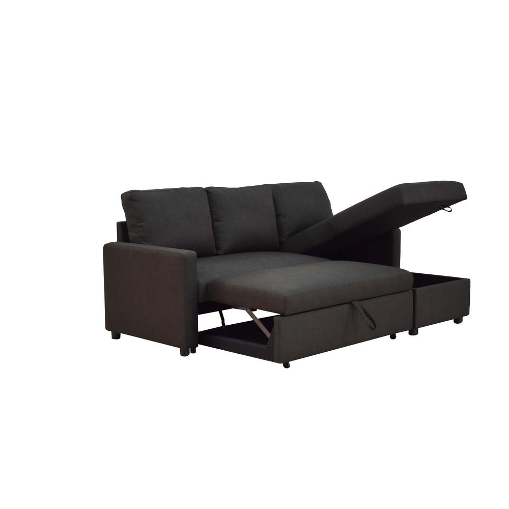 Hiltons Sectional Sofa w/Sleeper & Storage, Charcoal Linen (1Set/2Ctn). Picture 2