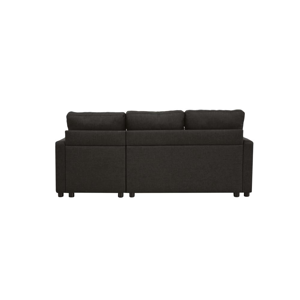 Hiltons Sectional Sofa w/Sleeper & Storage, Charcoal Linen (1Set/2Ctn). Picture 5