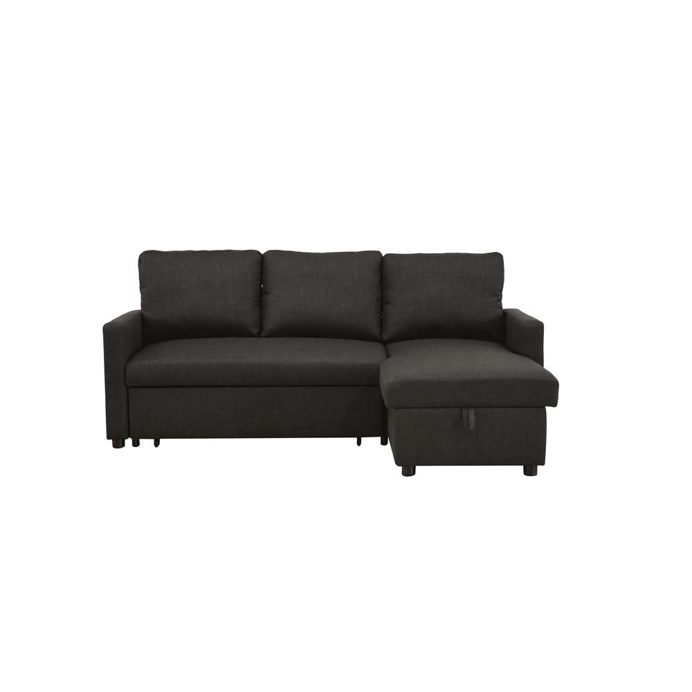 Hiltons Sectional Sofa w/Sleeper & Storage, Charcoal Linen (1Set/2Ctn). Picture 6