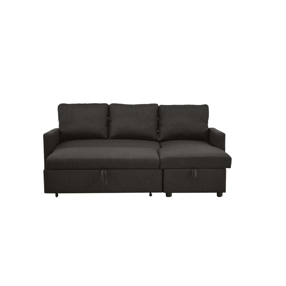 Hiltons Sectional Sofa w/Sleeper & Storage, Charcoal Linen (1Set/2Ctn). Picture 7