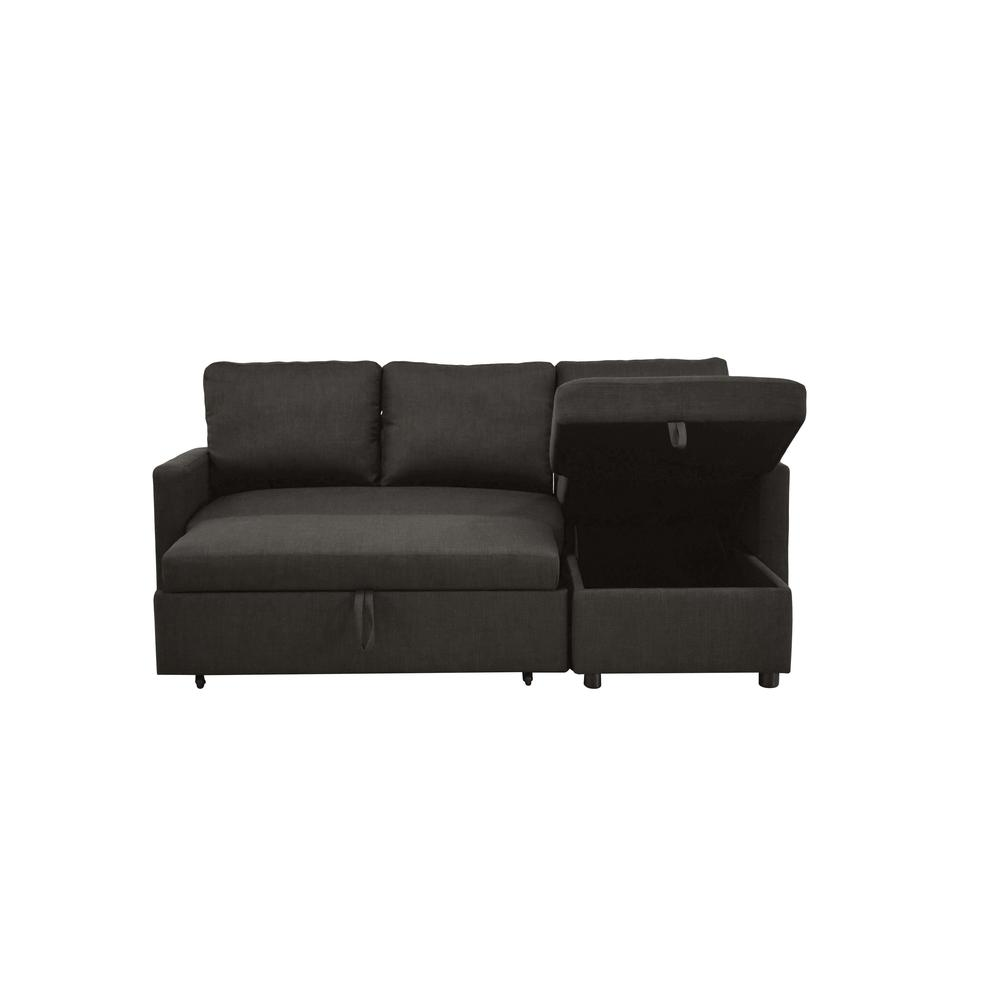 Hiltons Sectional Sofa w/Sleeper & Storage, Charcoal Linen (1Set/2Ctn). Picture 8