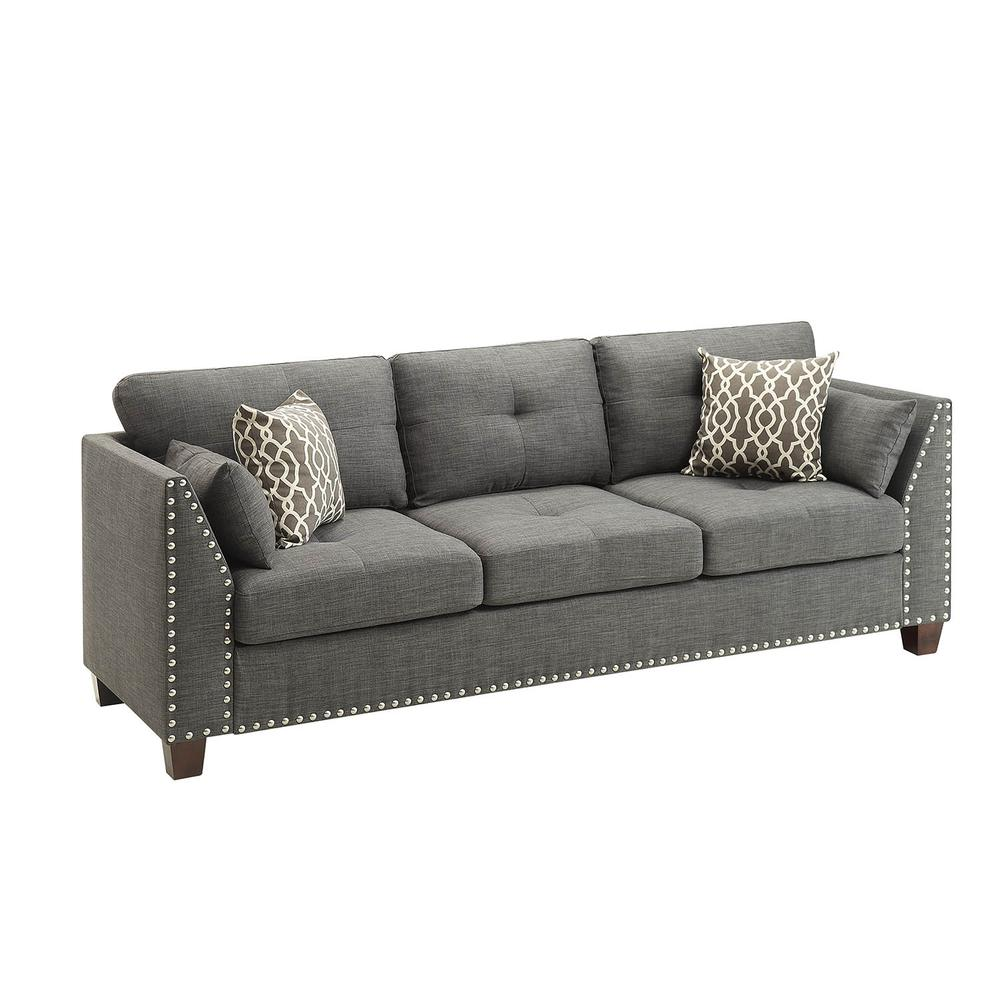 Laurissa Sofa w/4 Pillows, Light Charcoal Linen. The main picture.