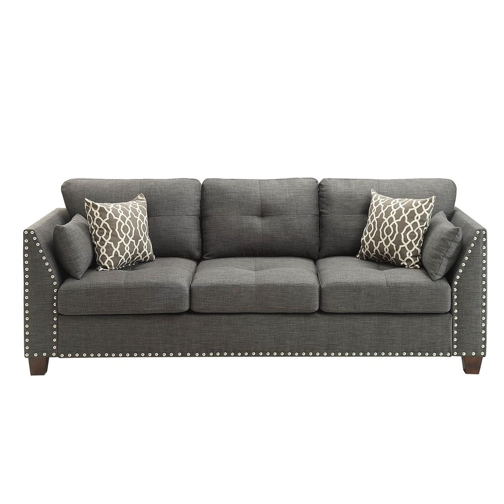 Laurissa Sofa w/4 Pillows, Light Charcoal Linen. Picture 3