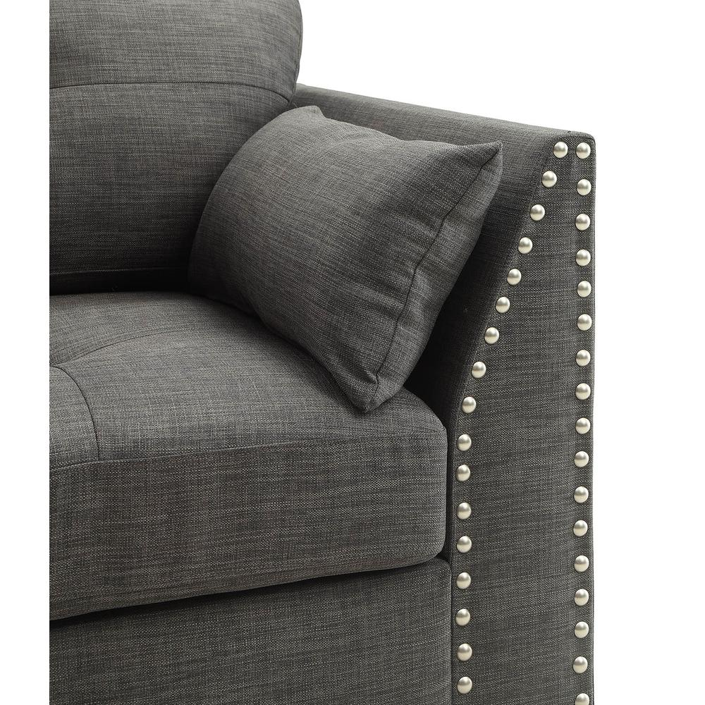 Laurissa Sofa w/4 Pillows, Light Charcoal Linen. Picture 4