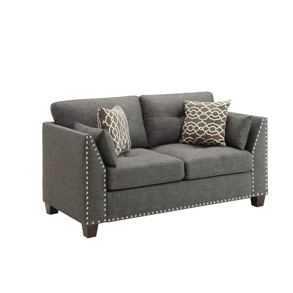 Laurissa Loveseat w/4 Pillows, Light Charcoal Linen. Picture 1