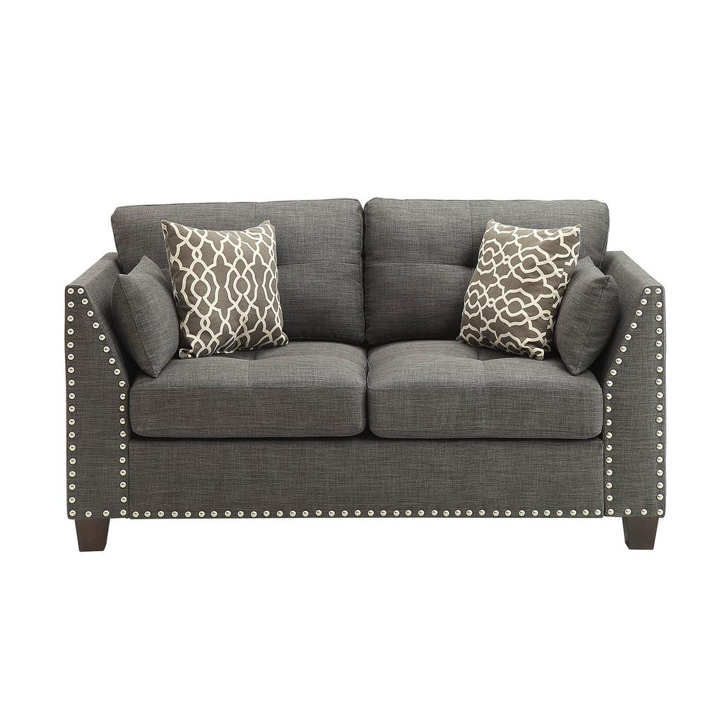 Laurissa Loveseat w/4 Pillows, Light Charcoal Linen. Picture 3