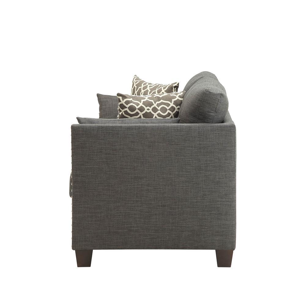 Laurissa Loveseat w/4 Pillows, Light Charcoal Linen. Picture 4