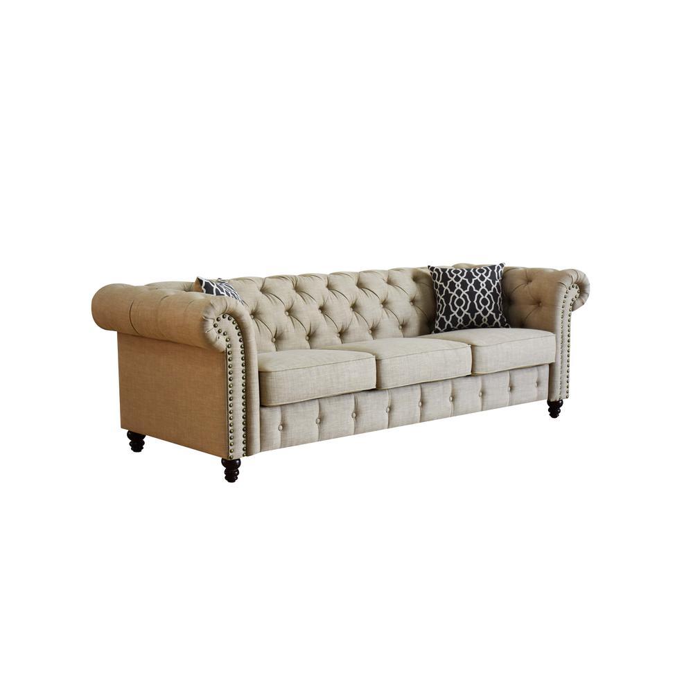 Aurelia Sofa w/2 Pillows, Beige Linen. Picture 2