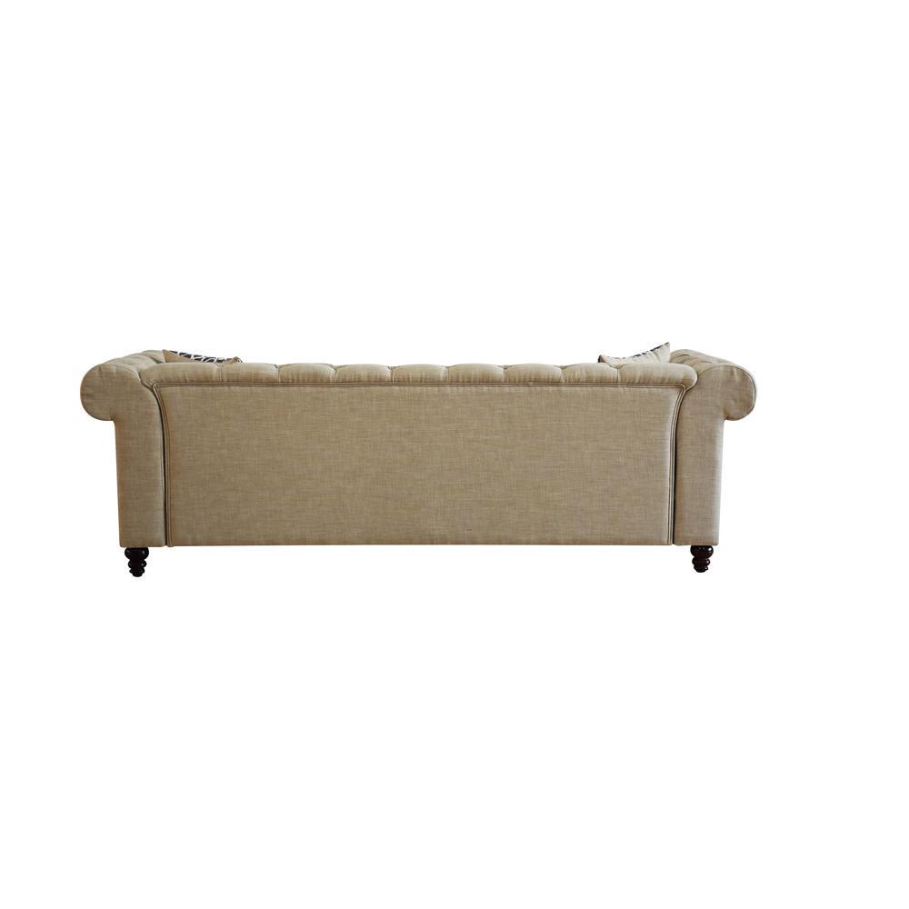 Aurelia Sofa w/2 Pillows, Beige Linen. Picture 3