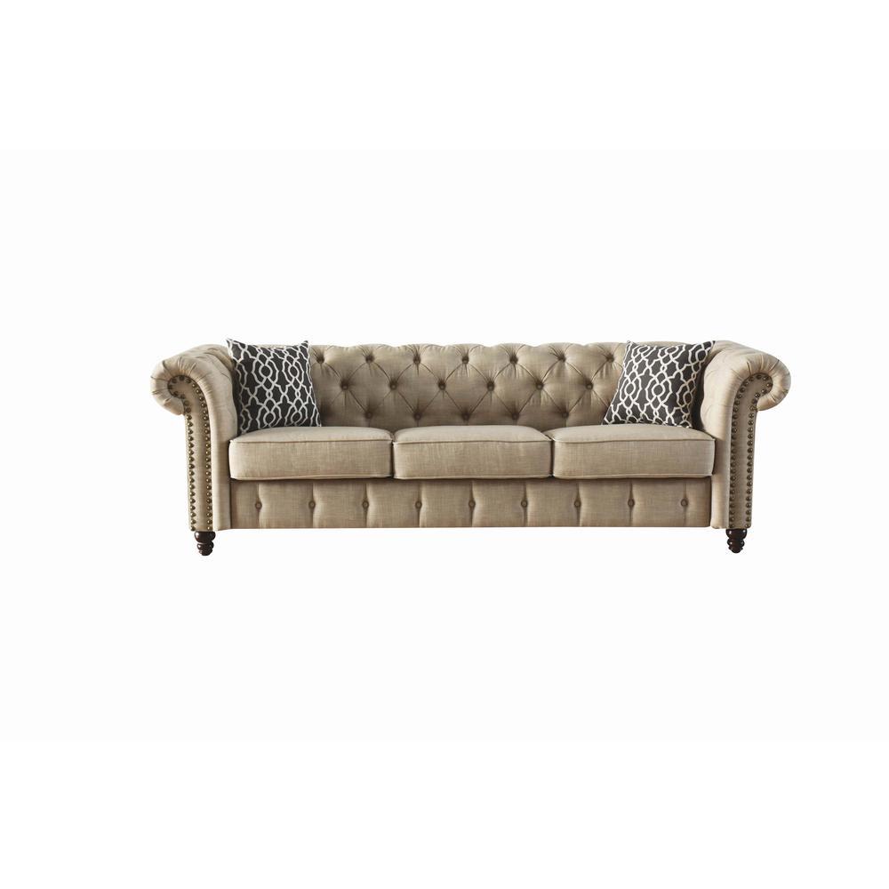 Aurelia Sofa w/2 Pillows, Beige Linen. Picture 4