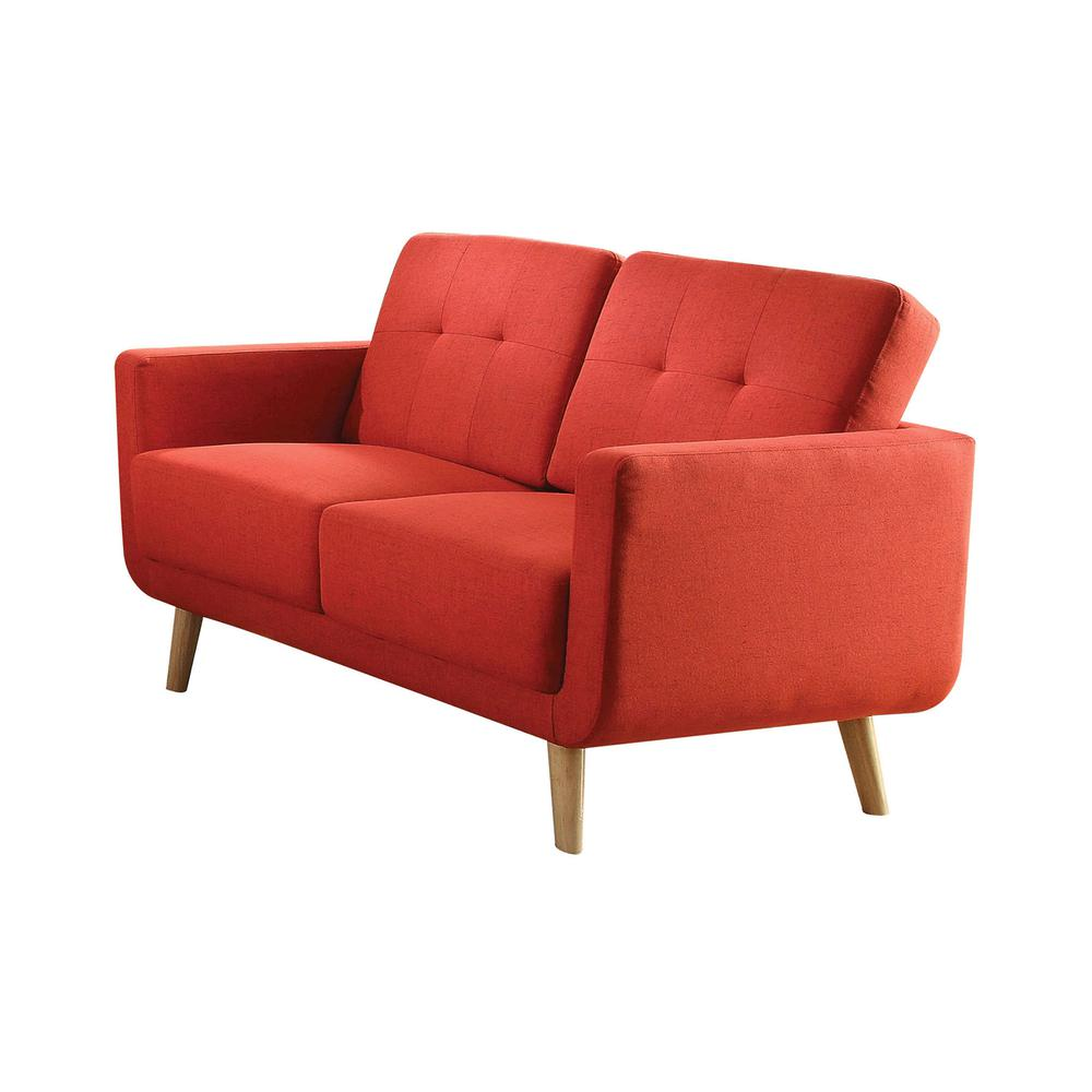 Sisilla Loveseat, Red Linen. Picture 1