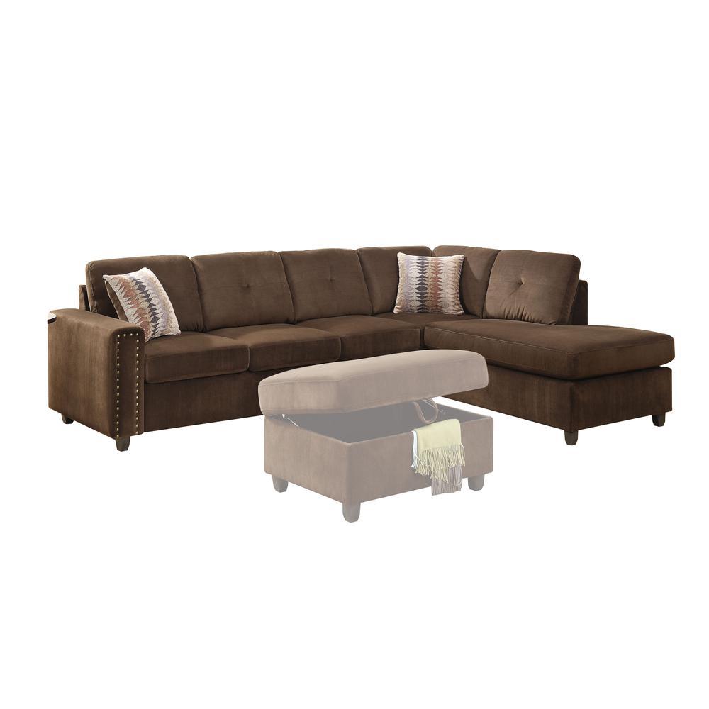 Belville Sectional Sofa w/Pillows (Reversible), Chocolate Velvet (1Set/2Ctn). Picture 1
