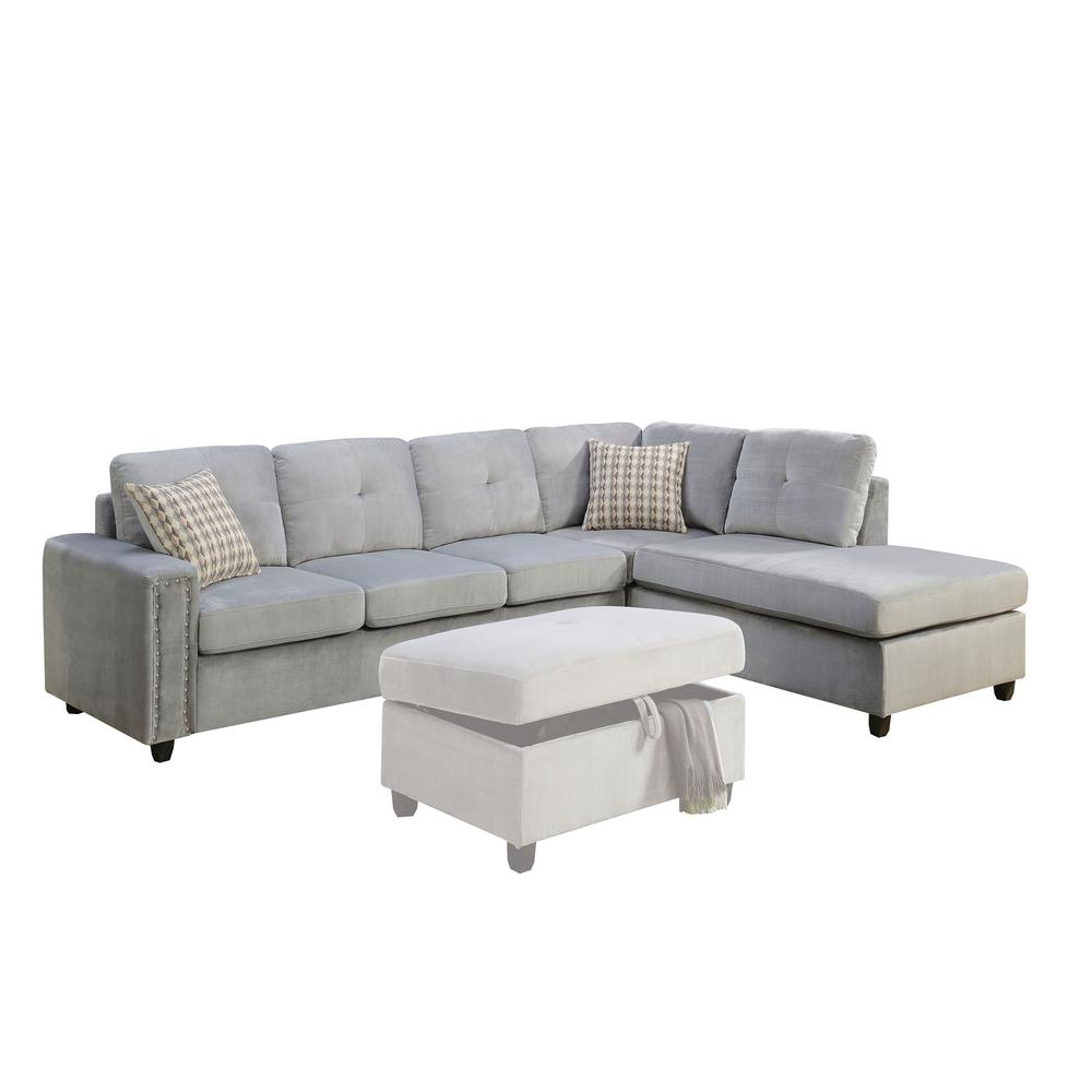 Belville Sectional Sofa w/Pillows (Reversible), Chocolate Velvet (1Set/2Ctn). Picture 5