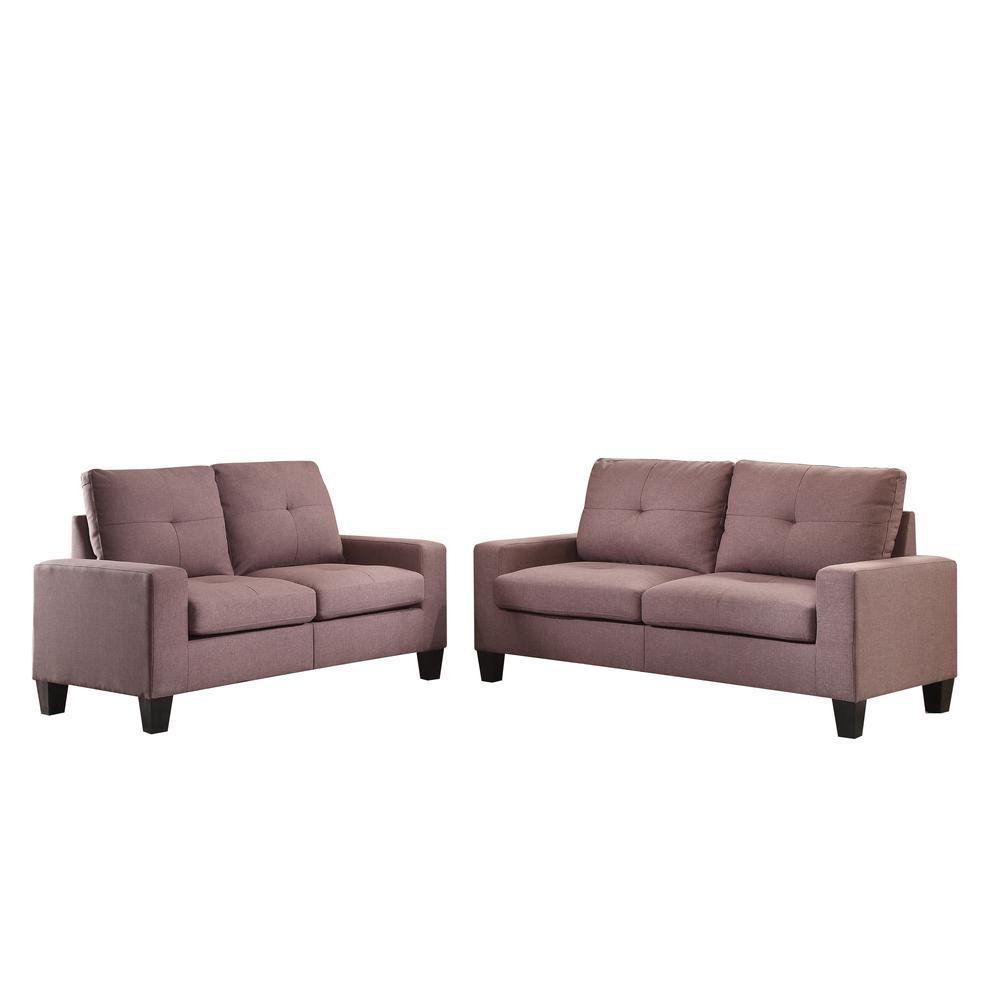 Platinum II Sofa & Loveseat, Chocolate Linen (1Set/2Ctn). Picture 1