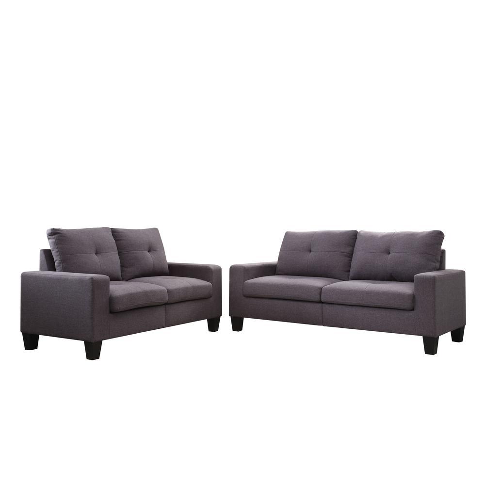 Platinum II Sofa & Loveseat, Chocolate Linen (1Set/2Ctn). Picture 2