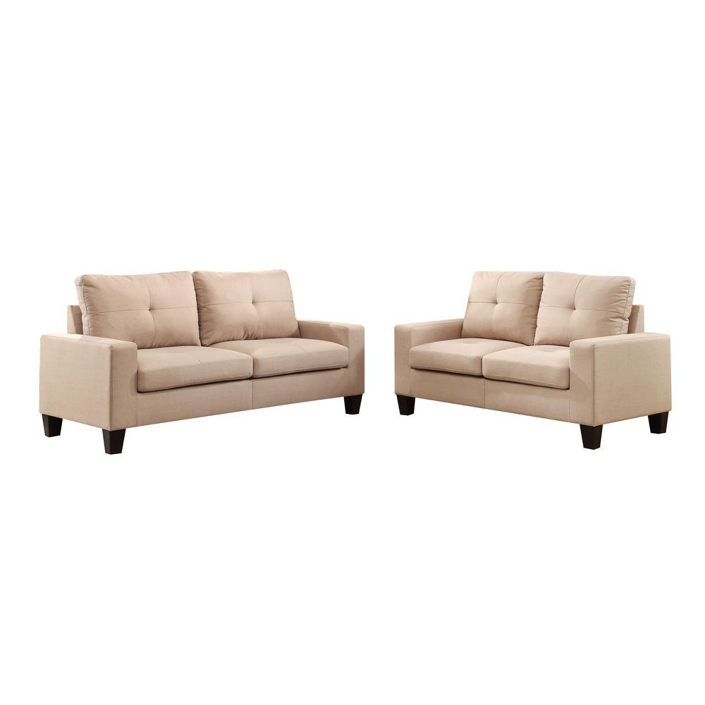 Platinum II Sofa & Loveseat, Chocolate Linen (1Set/2Ctn). Picture 3