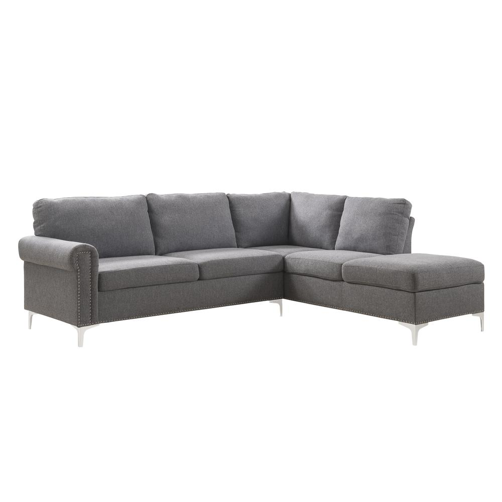Melvyn Sectional Sofa, Gray Fabric. Picture 1