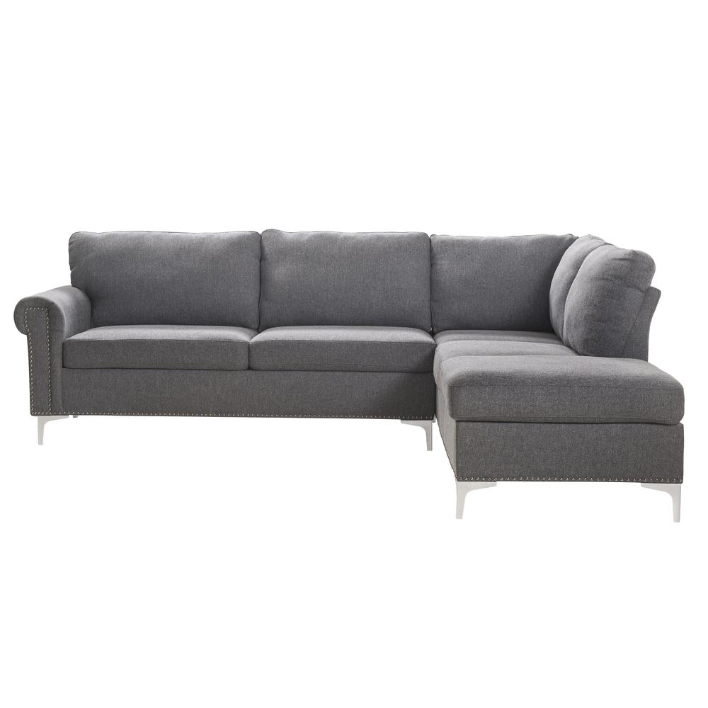 Melvyn Sectional Sofa, Gray Fabric. Picture 5