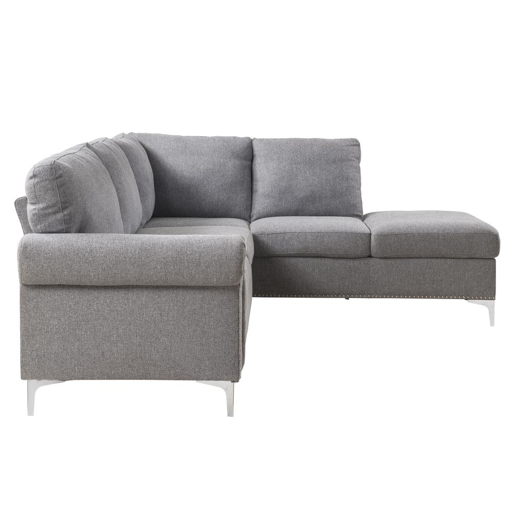 Melvyn Sectional Sofa, Gray Fabric. Picture 6