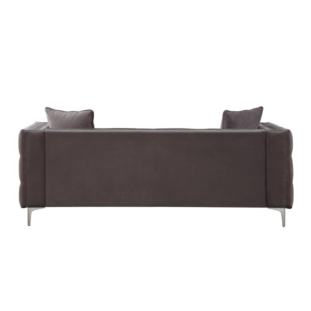 Gillian II Sofa w/3 Pillows, Dark Gray Velvet (1Set/3Ctn). Picture 4