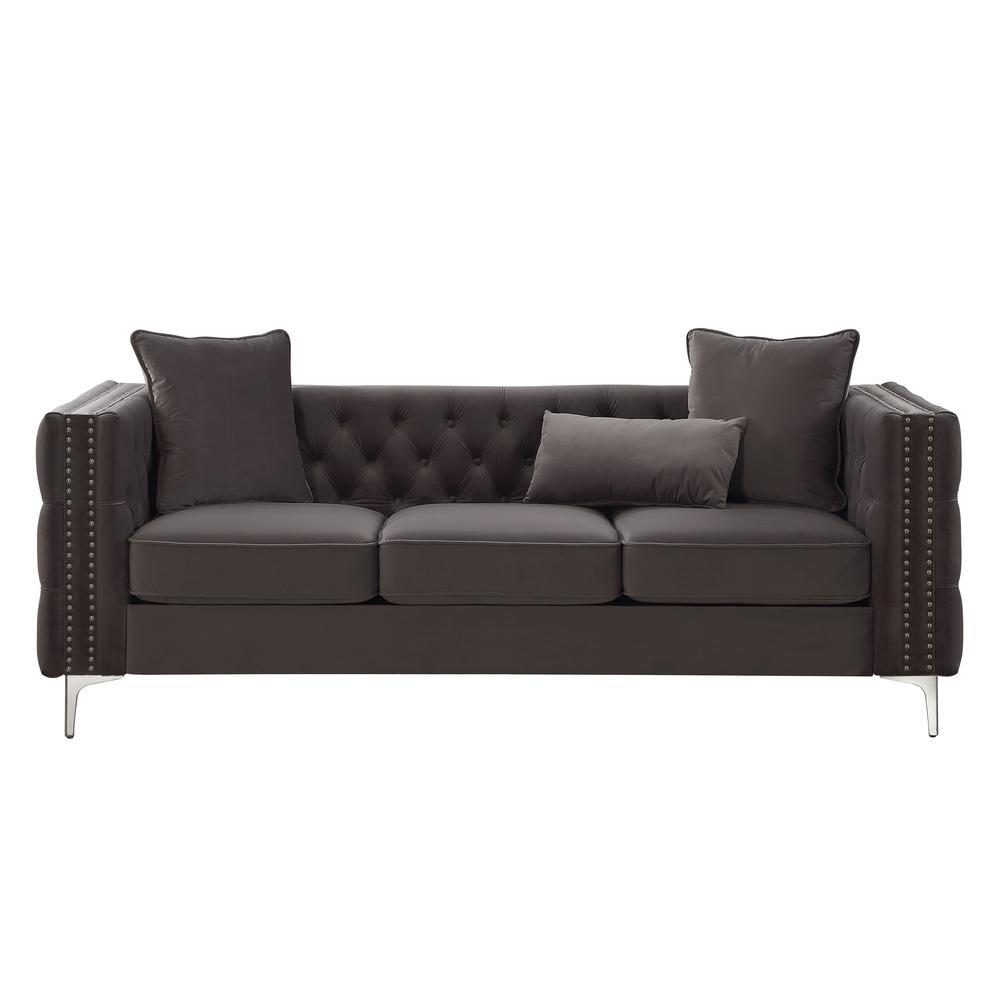 Gillian II Sofa w/3 Pillows, Dark Gray Velvet (1Set/3Ctn). Picture 5