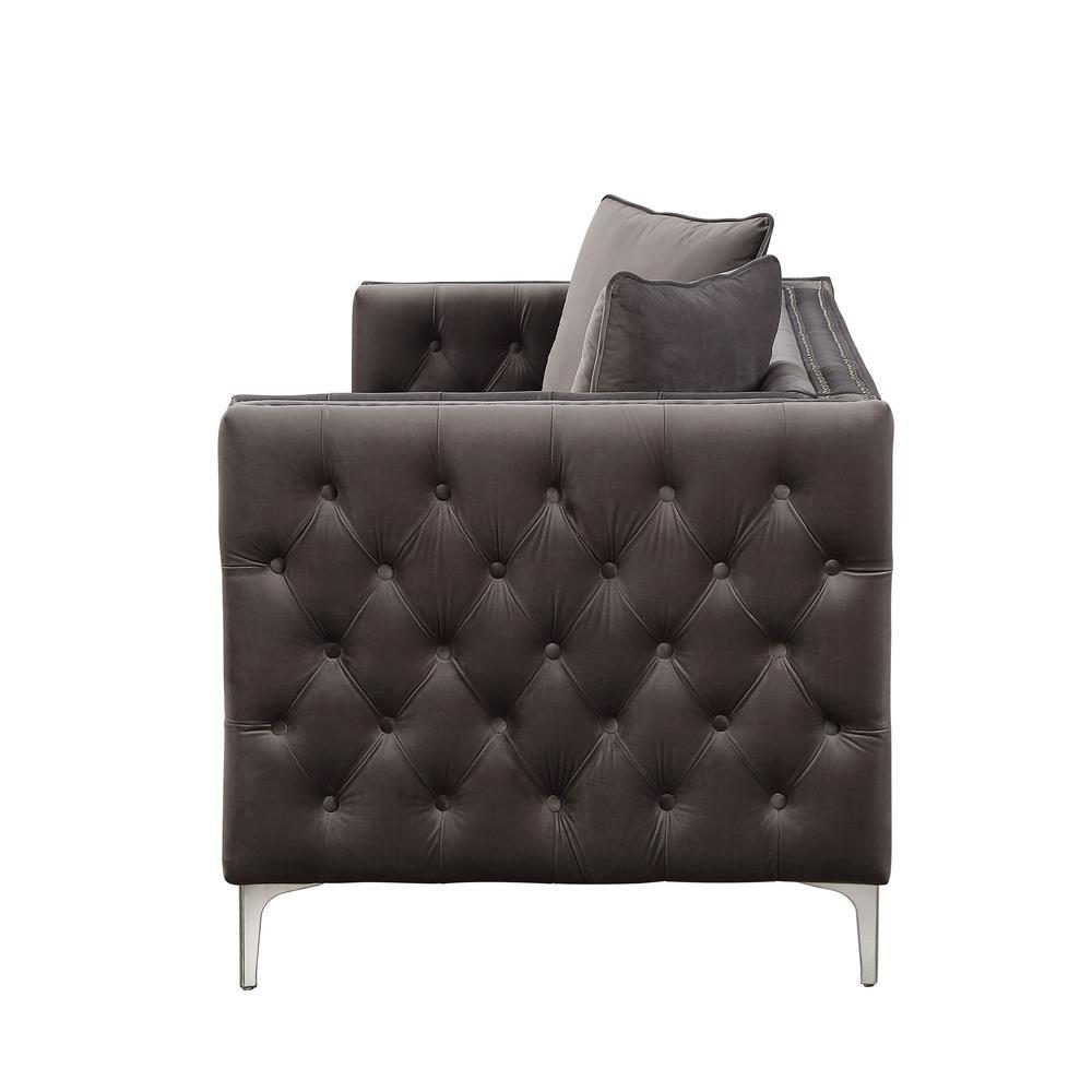 Gillian II Sofa w/3 Pillows, Dark Gray Velvet (1Set/3Ctn). Picture 6