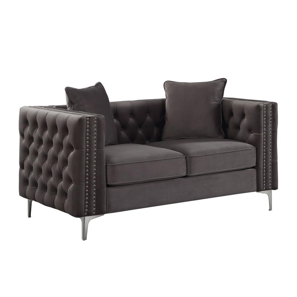 Gillian II Sofa w/3 Pillows, Dark Gray Velvet (1Set/3Ctn). Picture 7