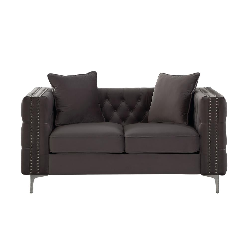 Gillian II Sofa w/3 Pillows, Dark Gray Velvet (1Set/3Ctn). Picture 9