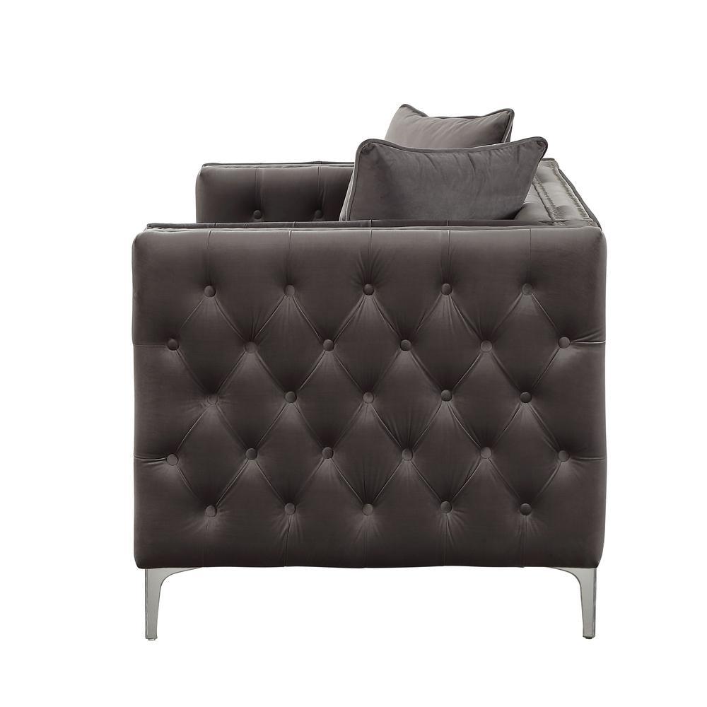 Gillian II Sofa w/3 Pillows, Dark Gray Velvet (1Set/3Ctn). Picture 10