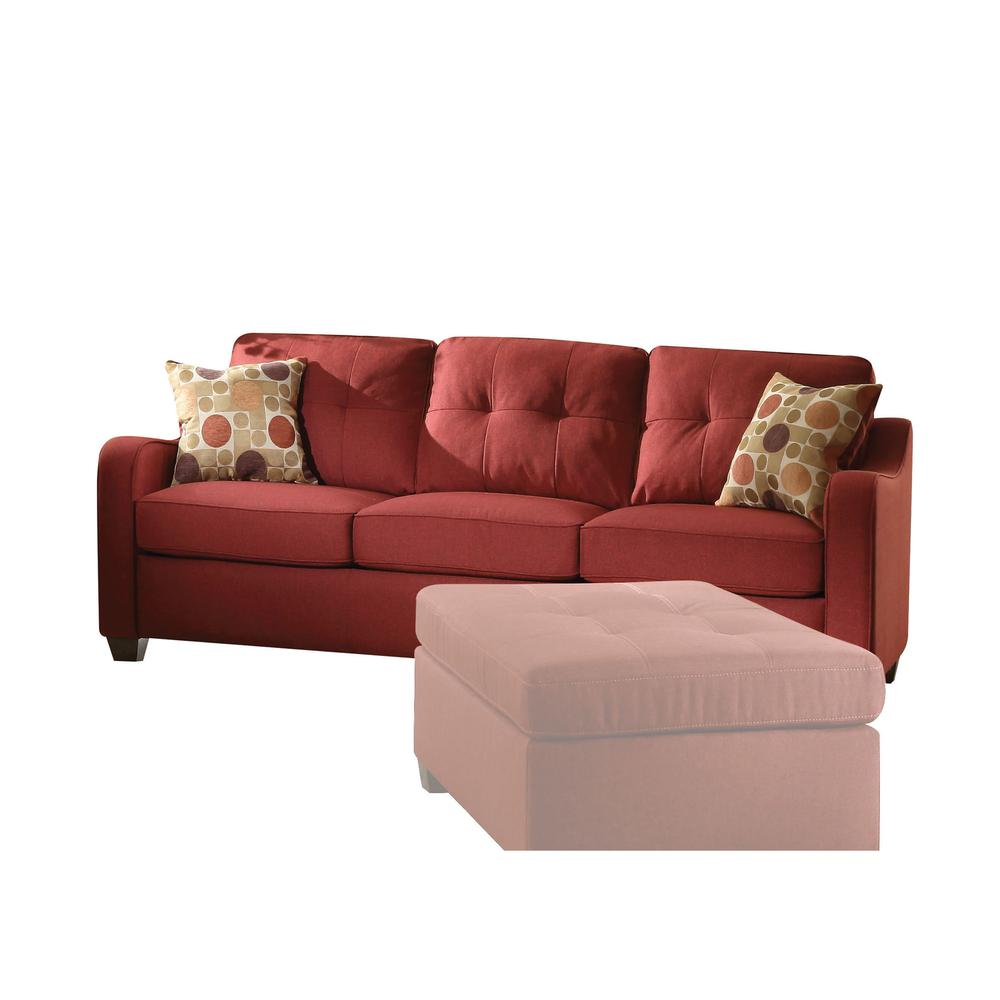 Cleavon II Sofa w/2 Pillows, Red Linen. Picture 1