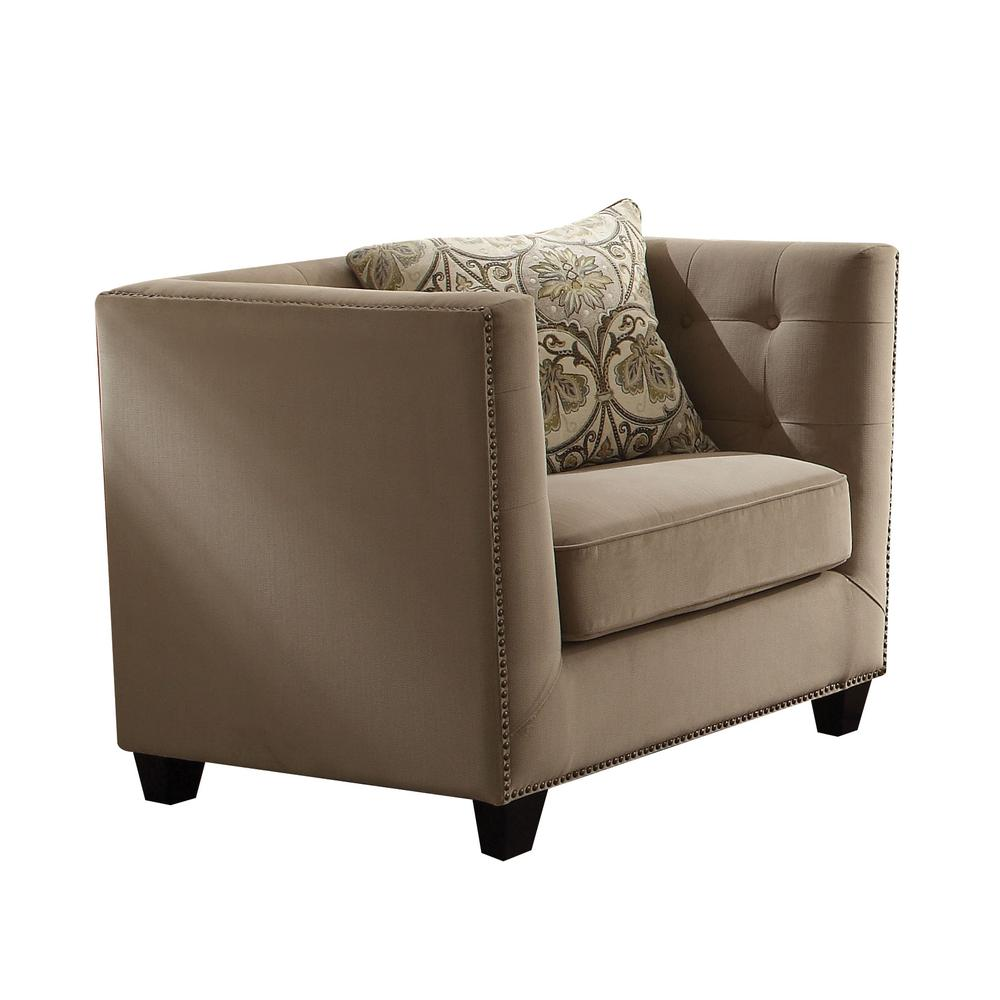 Juliana Chair w/1 Pillow, Beige Fabric. Picture 1