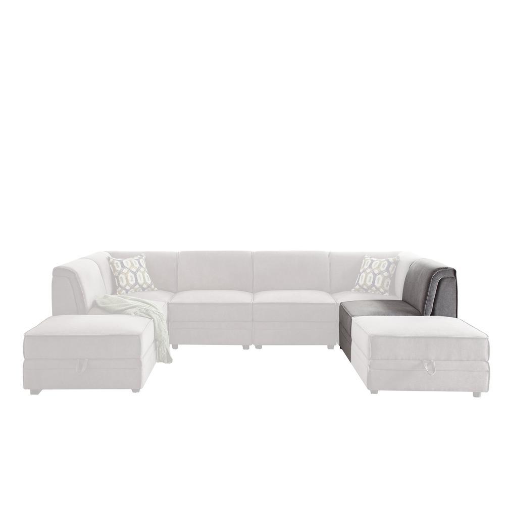 Bois Modular - Armless Chair, Gray Velvet. Picture 3