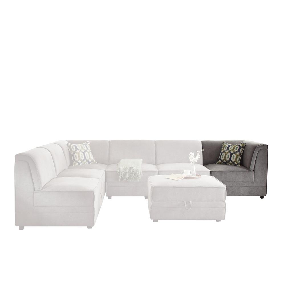 Bois Modular - Armless Chair, Gray Velvet. Picture 5