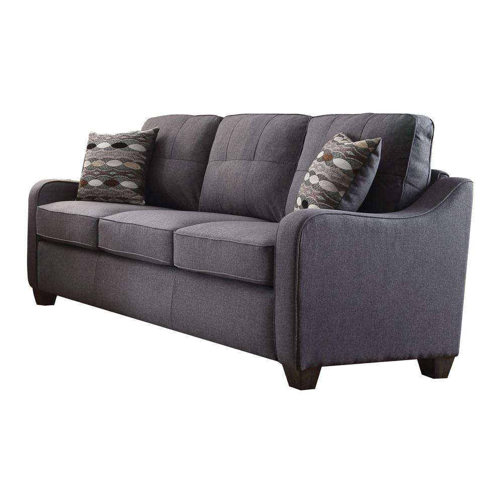 Cleavon II Sofa w/2 Pillows, Gray Linen. The main picture.