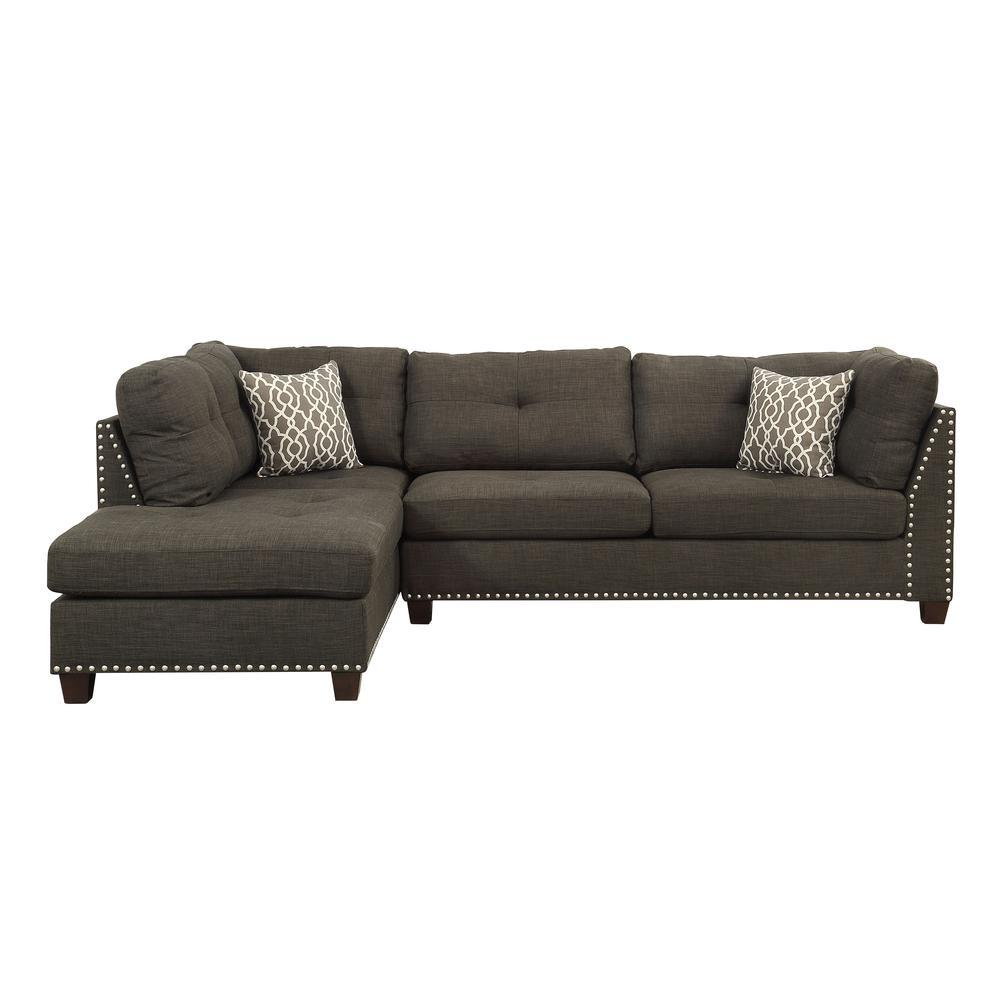 Laurissa Sectional Sofa & Ottoman (2 Pillows), Charcoal Linen (1Set/2Ctn). Picture 3