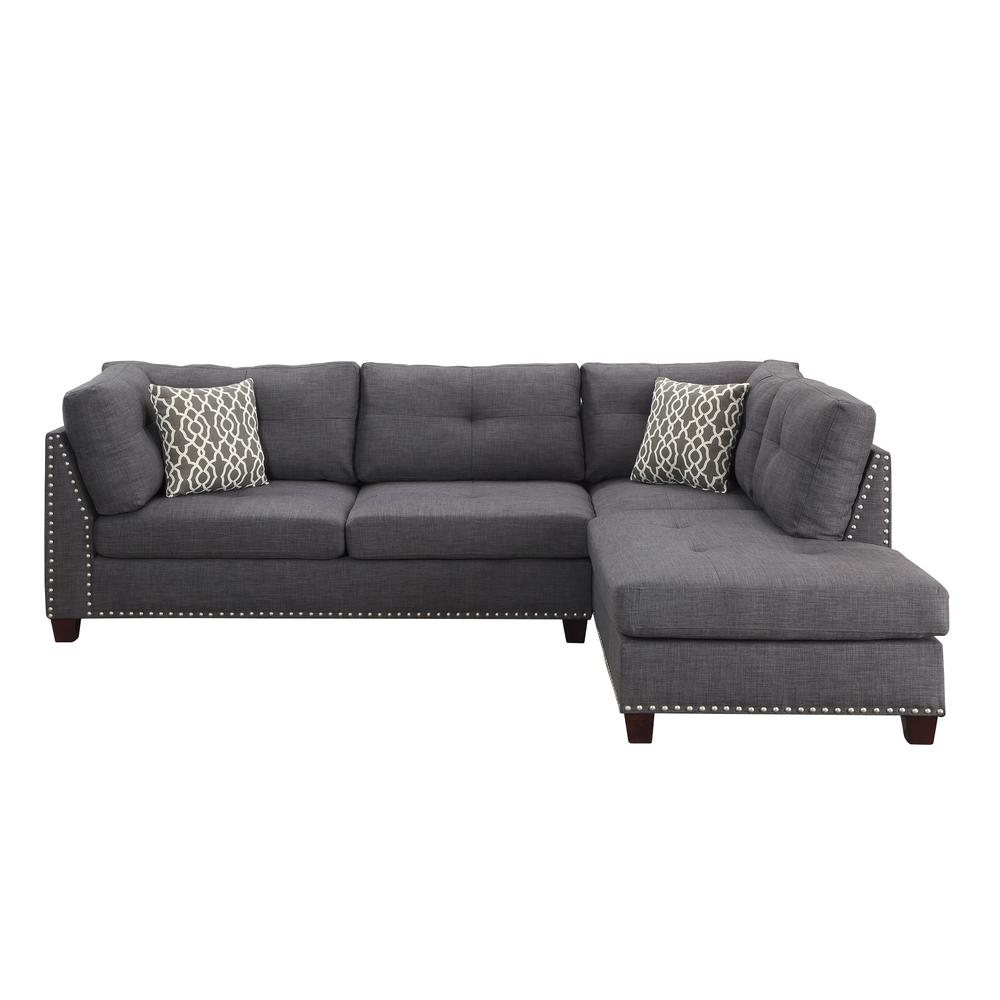 Laurissa Sectional Sofa & Ottoman (2 Pillows), Charcoal Linen (1Set/2Ctn). Picture 8
