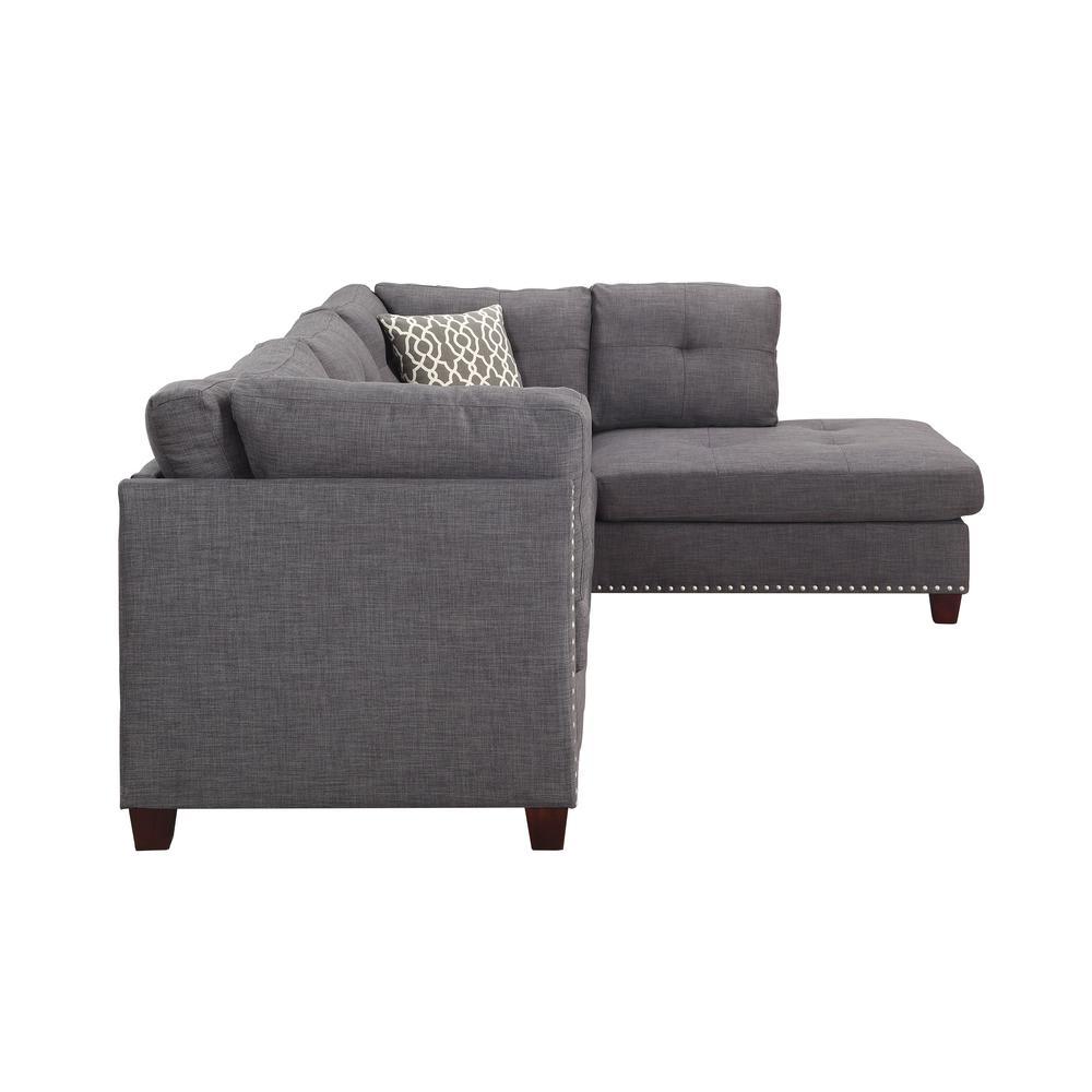 Laurissa Sectional Sofa & Ottoman (2 Pillows), Charcoal Linen (1Set/2Ctn). Picture 10