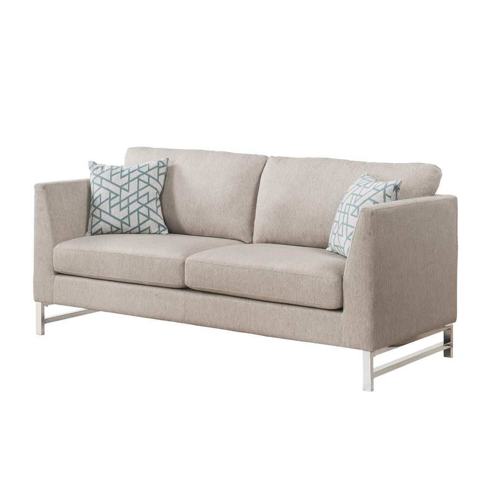 Varali Sofa w/2 Pillows, Beige Linen. Picture 1
