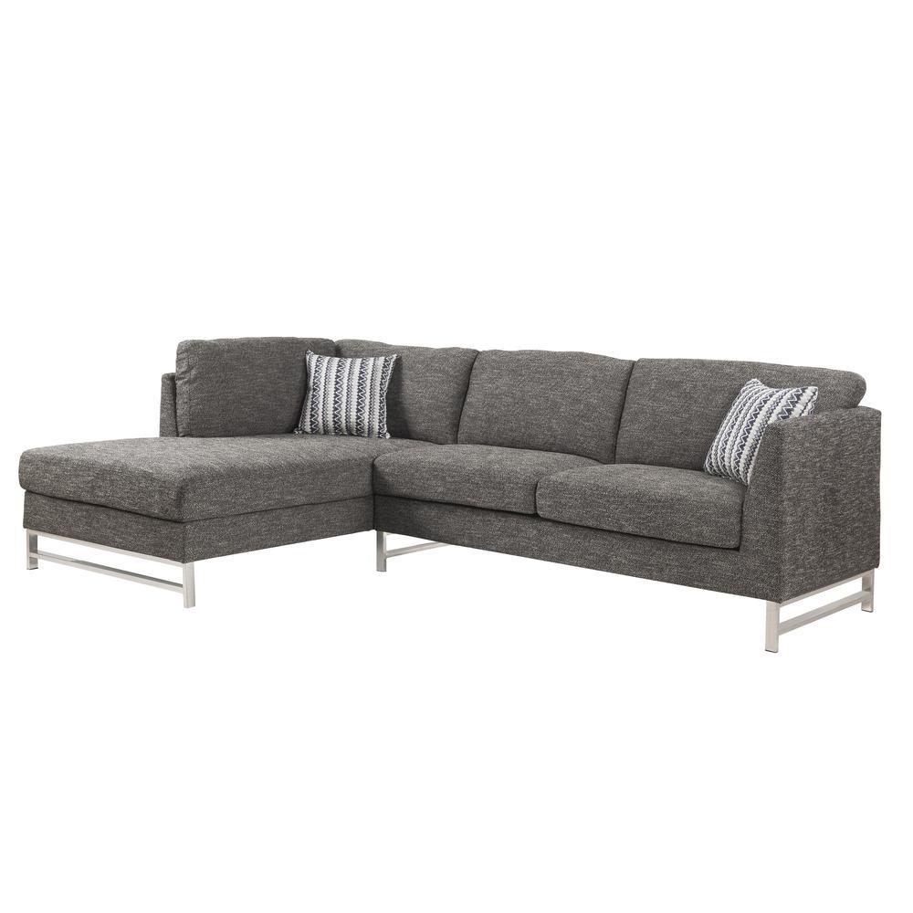 Varali Sectional Sofa, Gray Linen (1Set/2Ctn). Picture 1