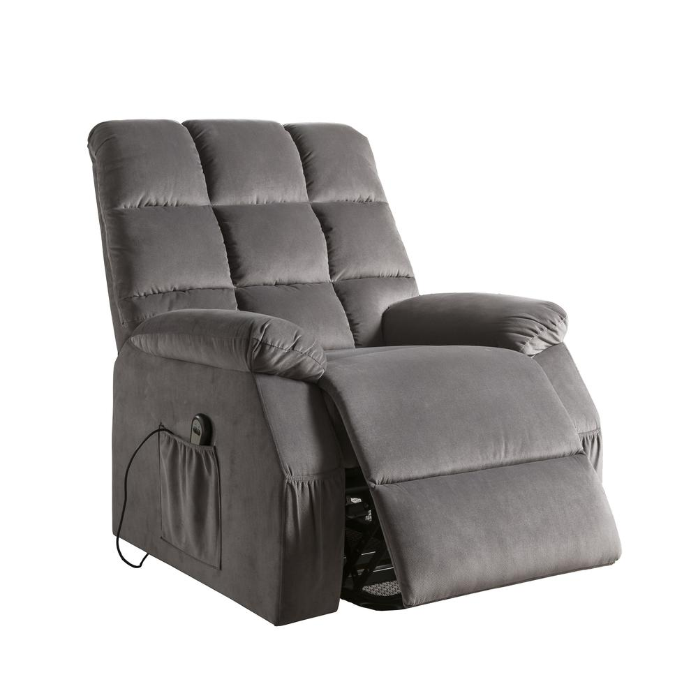 Ipompea Recliner w/Power Lift & Massage, Gray Velvet. Picture 8