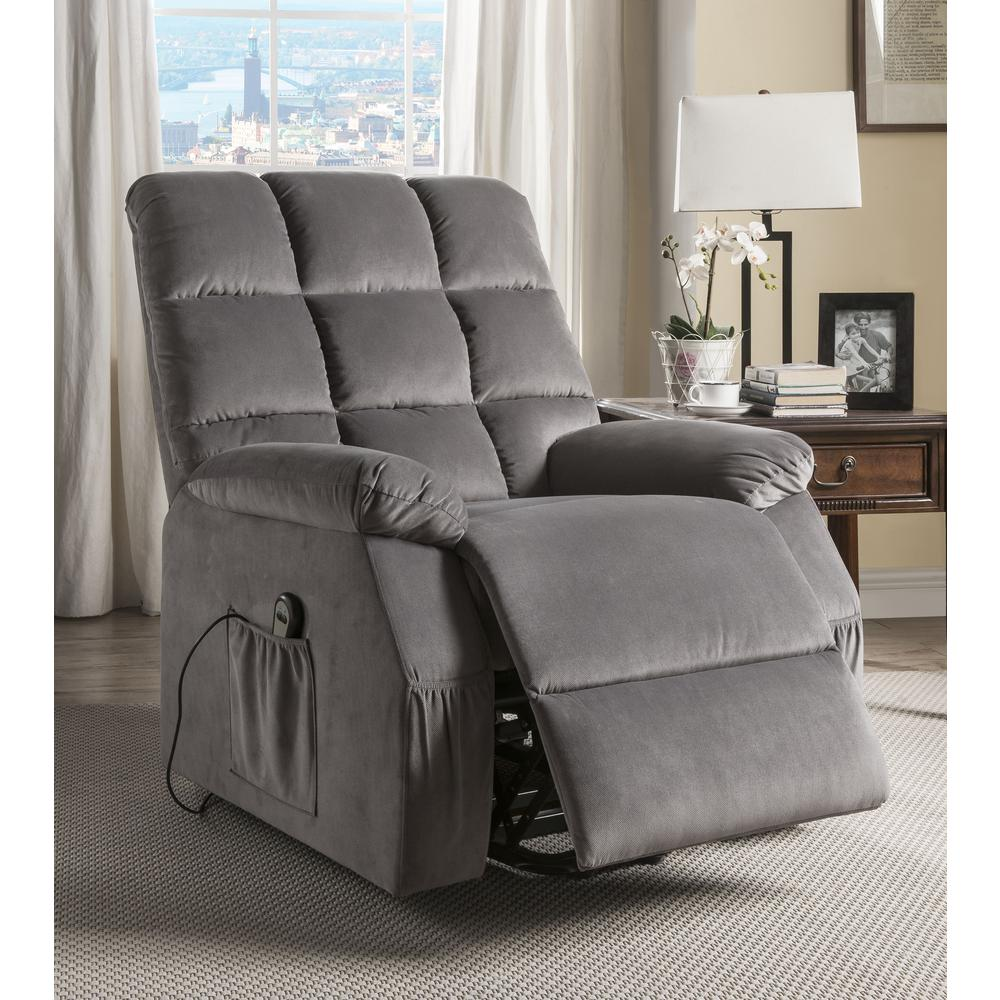 Ipompea Recliner w/Power Lift & Massage, Gray Velvet. Picture 9