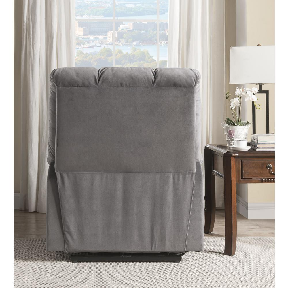 Ipompea Recliner w/Power Lift & Massage, Gray Velvet. Picture 10