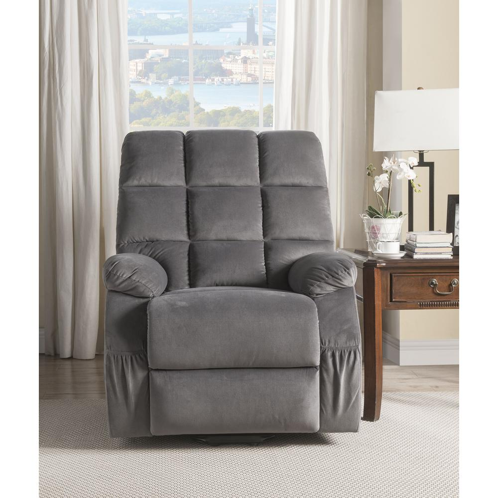Ipompea Recliner w/Power Lift & Massage, Gray Velvet. Picture 11
