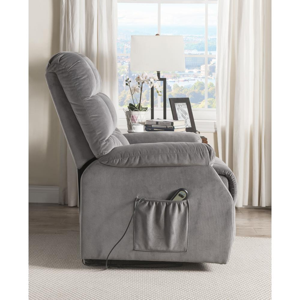 Ipompea Recliner w/Power Lift & Massage, Gray Velvet. Picture 12