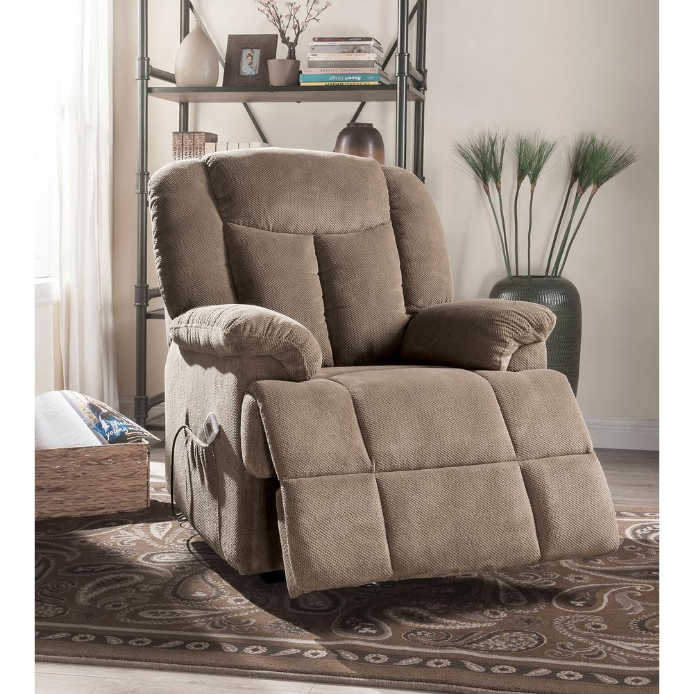 Ixia Recliner w/Power Lift & Massage, Light Brown Fabric. Picture 8